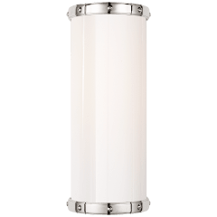 Bleeker Single Bath Sconce in Polished Nickel with White Glass