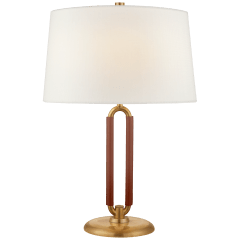 Cody Medium Table Lamp in Natural Brass and Saddle Leather with Linen Shade