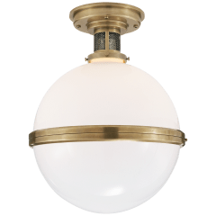 McCarren Large Flush Mount in Natural Brass with White Glass