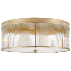 Allen Grande Flush Mount in Natural Brass and Glass Rods with White Glass