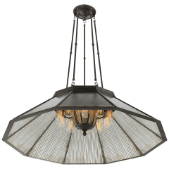 Rivington Large Ten-Paneled Chandelier in Bronze with Antiqued Ribbed Mirror