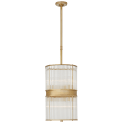 Allen Medium Pendant in Natural Brass and Glass Rods with White Glass