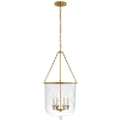 Cambridge Large Smoke Bell Lantern in Natural Brass with Clear Glass