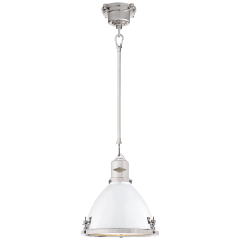 Fulton Small Pendant in Polished Nickel with White Enamel Shade
