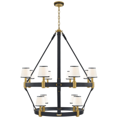 Riley Large Two Tier Chandelier in Natural Brass and Navy Leather with Leather Trimmed Linen Shades