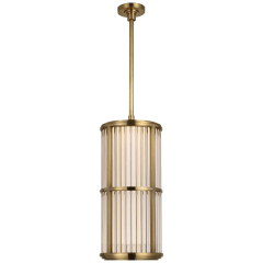 "Perren 10"" Pendant in Natural Brass and Glass Rods"