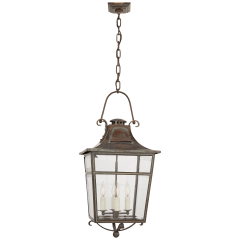 Carrington Small Lantern in Weathered Verdigris with Clear Glass