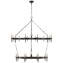 Branson Large Two-Tier Ring Torch Chandelier in Aged Iron