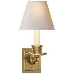 Single Swing Arm Sconce in Hand-Rubbed Antique Brass with Natural Paper Shade