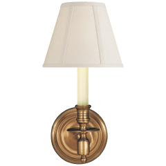French Single Sconce in Hand-Rubbed Antique Brass with Linen Shade