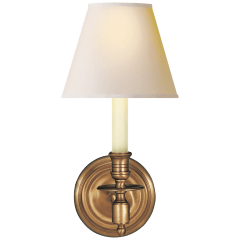 French Single Sconce in Hand-Rubbed Antique Brass with Natural Paper Shade