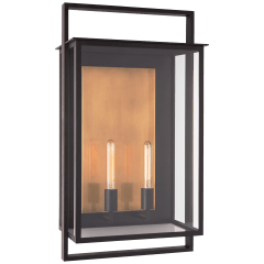 Halle Grande Wall Lantern in Aged Iron with Clear Glass