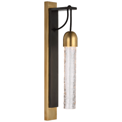 Reve Medium Tube Sconce in Bronze and Soft Brass with Clear Wavy Glass