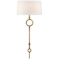 Talisman Large Tail Sconce in Gilded Iron with Linen Shade