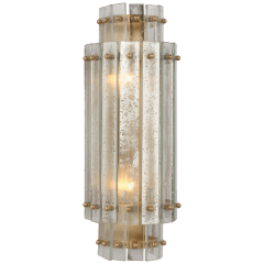 Cadence Small Tiered Sconce in Hand-Rubbed Antique Brass with Antique Mirror