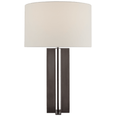 Rune Medium Table Lamp in Bronze with Linen Shade