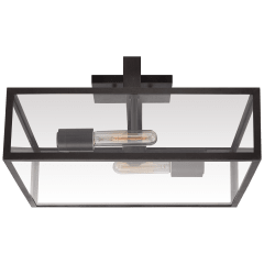 Halle Large Flush Mount in Aged Iron with Clear Glass