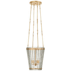 Cadence Small Tall Chandelier in Hand-Rubbed Antique Brass with Antique Mirror
