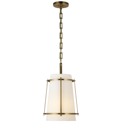 Callaway Small Hanging Shade in Hand-Rubbed Antique Brass with Linen Shade and Frosted Acrylic Diffuser