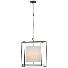 Taine Medium Lantern in Aged Iron with Linen Shade