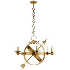 Armillary Sphere Chandelier in Hand-Rubbed Antique Brass