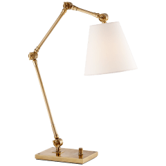 Graves Task Lamp in Hand-Rubbed Antique Brass with Linen Shade