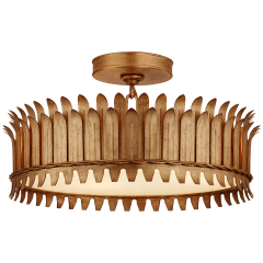 "Leslie 16"" Semi-Flush in Gilded Iron with Frosted Glass"