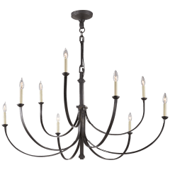 Reims Large Chandelier in Aged Iron