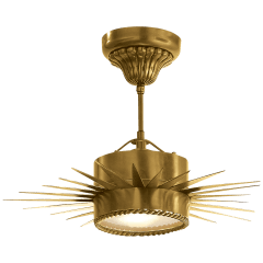 Soleil Small Semi-Flush in Hand-Rubbed Antique Brass with Frosted Glass