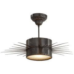 Soleil Medium Semi-Flush in Bronze with Frosted Glass