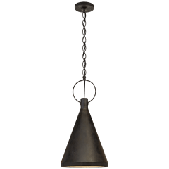 Limoges Medium Tall Pendant in Natural Rust with Aged Iron Shade