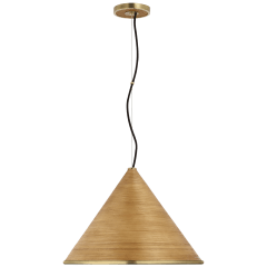 Reine Large Pendant in Hand-Rubbed Antique Brass with Dark Rattan