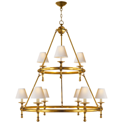 Classic Two-Tier Ring Chandelier in Hand-Rubbed Antique Brass with Natural Paper Shades