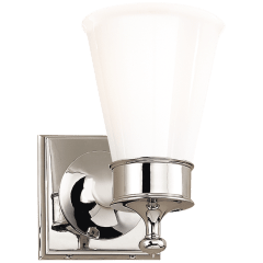 Siena Single Sconce in Polished Nickel with White Glass