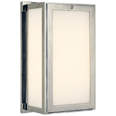 Mercer Short Box Light in Polished Nickel with White Glass