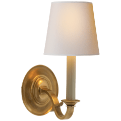 Channing Single Sconce in Hand-Rubbed Antique Brass with Natural Paper Shade