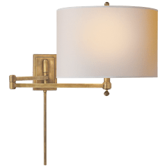 Hudson Swing Arm in Hand-Rubbed Antique Brass with Natural Paper Shade