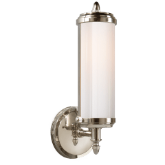 Merchant Single Bath Light in Polished Nickel with White Glass