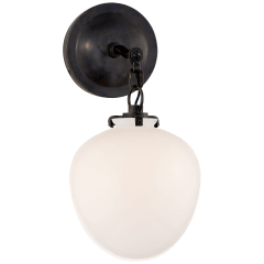 Katie Small Acorn Sconce in Bronze with White Glass