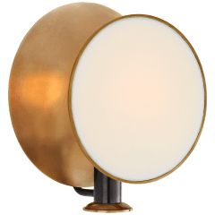 Osiris Single Reflector Sconce in Bronze and Hand-Rubbed Antique Brass with Linen Diffuser