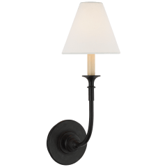 Piaf Single Sconce in Aged Iron with Linen Shade