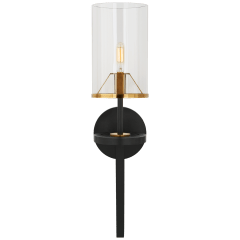 Vivier Single Sconce in Blackened Iron and Hand-Rubbed Antique Brass with Cylinder Clear Glass