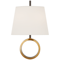 Simone Small Sconce in Bronze and Hand-Rubbed Antique Brass with Linen Shade