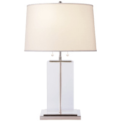Block Large Table Lamp in Crystal and Polished Silver with Cotton Shade