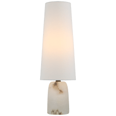 Jinny Medium Table Lamp in Alabaster with Linen Shade
