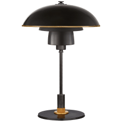 Whitman Desk Lamp in Bronze and Hand-Rubbed Antique Brass with Brass Trimmed Bronze Shade