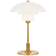 Whitman Desk Lamp in Hand-Rubbed Antique Brass with White Glass Shade