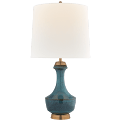 Mauro Large Table Lamp in Oslo Blue with Linen Shade