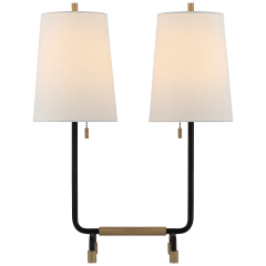 Adolfo Medium Desk Lamp in Aged Iron and Hand-Rubbed Antique Brass with Linen Shades