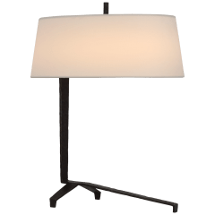 Francesco Accent Lamp in Aged Iron with Linen Shade